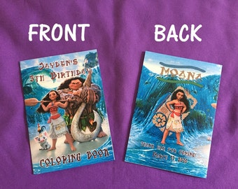12 Personalized Disney's Moana Coloring Books / with Crayons, Party Favors