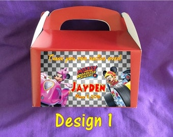 Personalized Mickey and the Roadster Racers Treat Boxes (4 design choices)