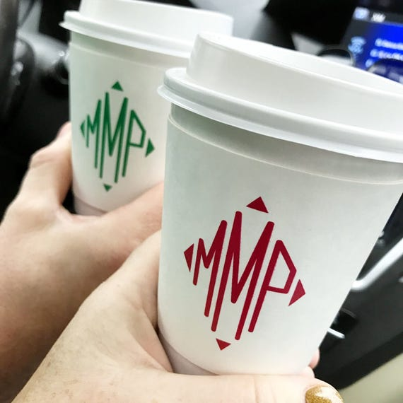 Personalized coffee cups, custom coffee cups, monogrammed hot chocolate cups, Wedding to go cups, personalized reception favors,