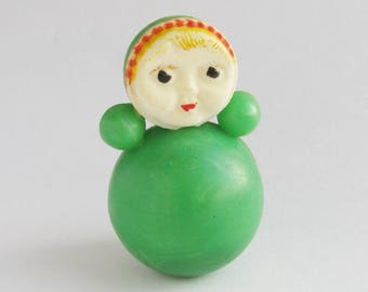 Roly Poly Doll, 6.5 cm, Green nevalyashka, Cute Toy,  Soviet vintage plastic toy, Souvenir, Nursery Decor, Made in USSR, 1980s