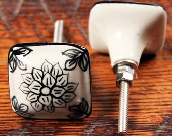 Square Ceramic Knob - Square Knob - Painted Ceramic Knob - Ceramic Dresser Knob - Kitchen Cabinet Knob - Dresser Knob - Ceramic Cabinet Knob