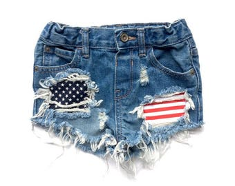 Let Freedom Ring Shorts- 4th of july- distressed denim- baby shorts-kids shorts- patriotic shorts- girls shorts