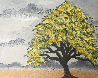 """Original 12"""" X 12"""" acrylic tree painting on stretched canvas. """"Golden"""""""
