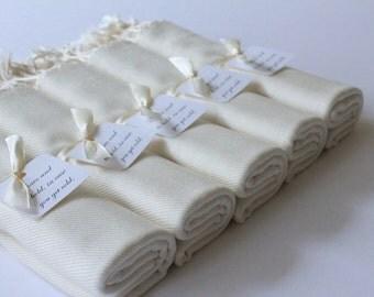 IVORY PASHMINAS and Favor Tags - Set of 5 Ivory - Pashmina Shawls in Ivory - Keepsakes - Favors - Shawls Ivory - Pashmina Ivory
