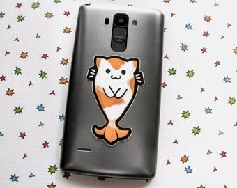 Cat Fish Sticker, Laptop Sticker, Car Sticker, Bumper Sticker, Vinyl Sticker, Koi Sticker, Goldfish Sticker, Goldfish Cat, Cute Cat