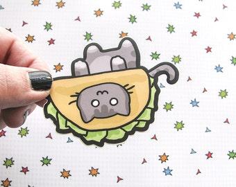 Grey Taco Cat Sticker, Laptop Sticker, Car Sticker, Bumper Sticker, Vinyl Sticker, Kitten Stickers, Cute Cats, Taco Hat, Skateboard