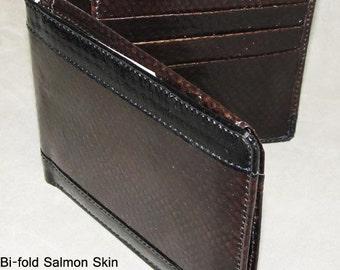 Salmon Skin Wallet Brown w/Black Stripes Bi-Fold