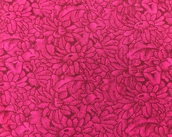 Mauve Pink Floral Cotton Quilting Fabric 330mm x 1120mm