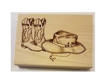 Cowboy Boots & Hat Rubber Stamp - 108M02