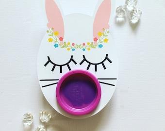 Sleepy bunny playdoh cards