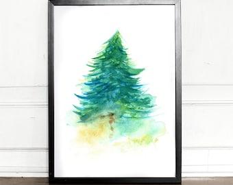 Watercolor Spruce tree, giclee art print, evergreen, botanical, wall decor, home decor