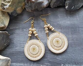 Beige Leather Earrings Gold Dangle Earrings Bohemian Gemstone Earrings Leather Boho Earrings Gemstone Leather  Jewelry Boho Jewelry