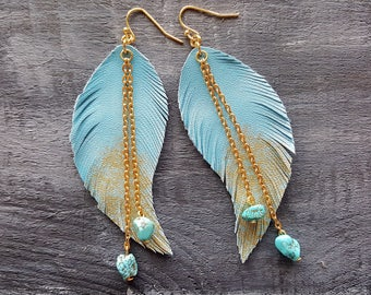 Blue feather earrings. Leather feather earrings. Gold blue dangle earrings. Turquoise earrings. Boho earrings. Bohemian earrings. Jewelry.