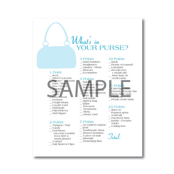 Light Blue Bridal Shower Game: What's in Your Purse?