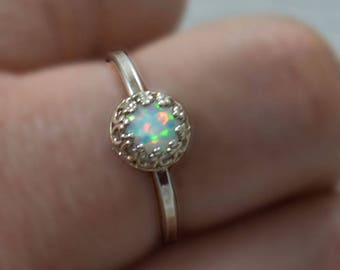 White Opal Silver Ring  - Sterling Silver Ring - Opal Stone Ring - Silver Bezel Ring