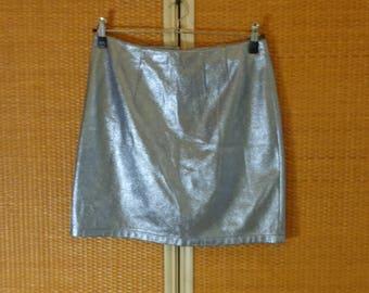 Skirt Silver color mini skirt Shiny skirt Size 12
