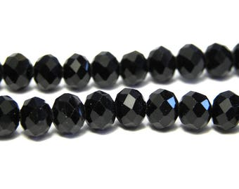 Faceted Glass Briolette Beads, Rondelle Beads 6mm - Black