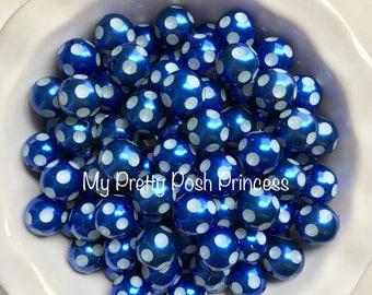 20mm Royal Blue Pearl Polka Dot Chunky Bubblegum Beads Set of 10
