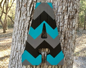 "13"" Custom Hand-cut Wood Letter, Chevron Letter, Hand Painted Wooden Letter, Hanging Wood Letter"