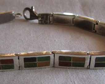 Sterling Silver Inlaid Link Carolyn Pollack Bracelet