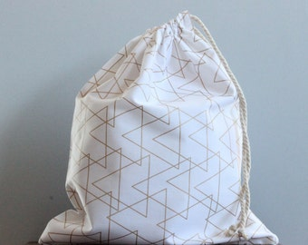 Gold Triangles Drawstring Bag |Library bag |Bread Bag |Laundry Bag
