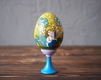 Hand Painted Easter egg, wooden egg decorated russian ornaments. Easter gift.