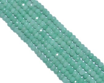 Green Chalcedony (Dyed)  3.5mm Faceted Roundel Beads Strand, Green Chalcedony Faceted Roundel Beads, Green Chalceondy Beads