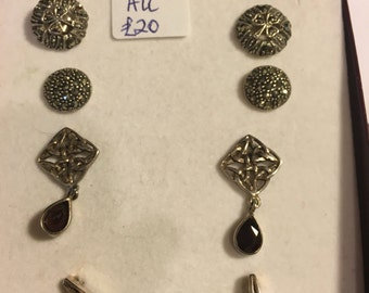 Choice of four vintage sterling silver earrings
