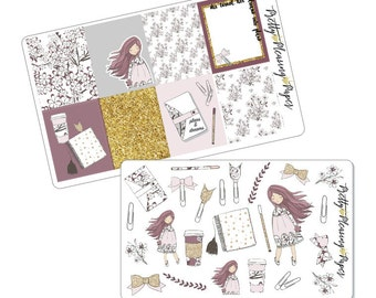 Doodle Girls Dreams into Plans Sticker sheets for Planners and Scrapbooks