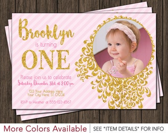 Pink and Gold Birthday Invitation | Pink & Gold First Birthday Invitations | Any Age