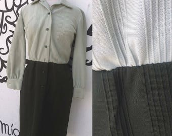 60's Butte Knit vintage polyester green dress , fits small