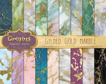 Gilded Gold Marble Digital Paper, marble textures, gold vein marble backgrounds, marble backdrops, photo backgrounds instant download