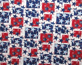 Patriotic USA Fabric -  Celebrate 4006 Hoffman Fabrics - Red White Blue Stars - 100% Cotton  - 1 yard only