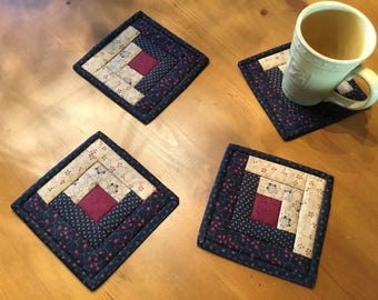 Log Cabin Mug Rugs / Quilted Mug Rugs / Country Decor /Handmade / Item #1951