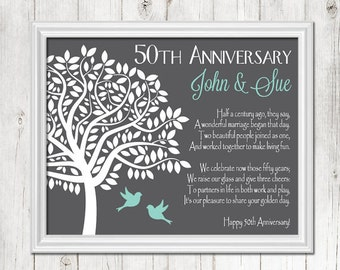 50th ANNIVERSARY Gift Print, Personalized Gift for Couple's 50th Anniversary, Golden Anniversary Gift, Parents Anniversary, CANVAS or Prints