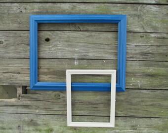 2 Vintage Wood Frames ~ Blue Wood Frame and White Wood Frame ~ 12 x 16 Frame ~ 8 x 10 Frame