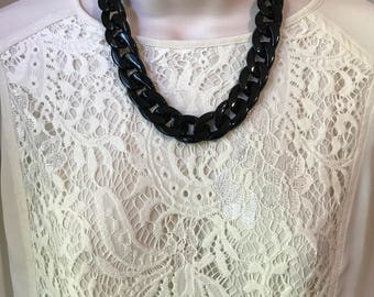 Black Chunky Chain Lucite Link Housewife Resin Statement Necklace