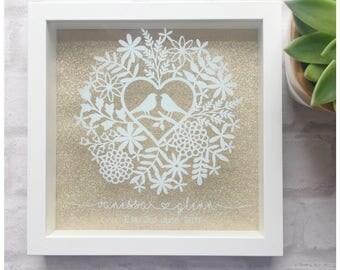 Personalised wedding gift, wedding frame, keepsake gift, couple gift, wedding present, box frame