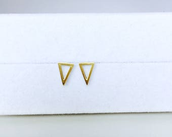14K solid gold elongtaed halo triangle bar earring trendy plain triangle stud earrings HLTAG-SE1007