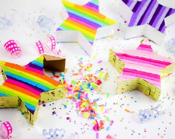 Mini Star Pinatas, Unicorn Party, Rainbow Party Favors, Mini Pinatas, Birthday Party Favors, Girls Birthday, Unicorn Decorations, Set of 3