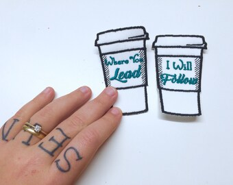 Coffee Cup Patches - Two Pack - twinning, sew on, gilmore, where you lead, girls, feminist,