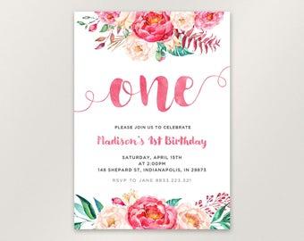 1st Birthday Invitation for Girl, First Birthday Invitation, peony Boho Floral Birthday Invitation, Birthday Bash, Flowers, Printable