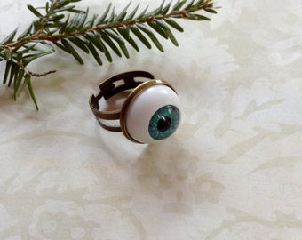 Blue Medium Bronze Adjustable Eyeball Ring