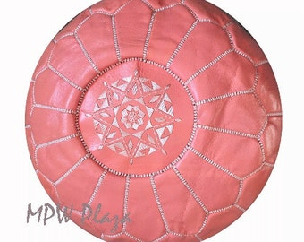 Sale-Coral Moroccan Leather Pouf / Ottoman