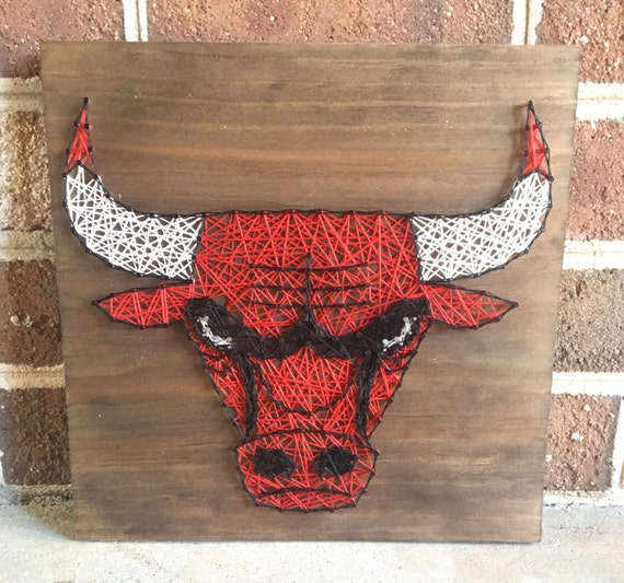 Man Cave String Art : Chicago bulls basketball sports team man cave string art wood