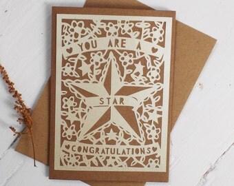 Paper Cut Congratulations Card, Die Cut Congratulations Card, Star Card, Art Deco Congratulations Card, Wedding Congratulations