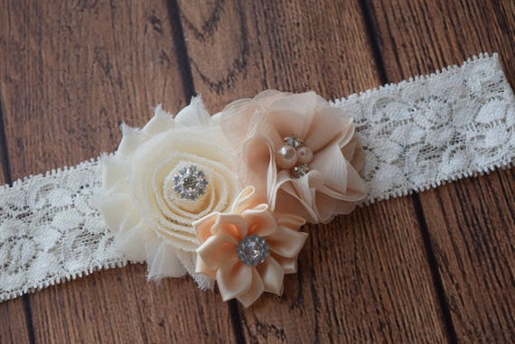 Neutral cream tan headband, #2, Shabby Flowers Baby Headband, Newborn Headband,  Infant Headband,Baby Headband, Headband Baby