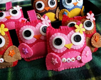 Cute Felt Owl Keyring, Keychain, Bag Charm with personalized name