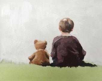 Boy painting Teddy Bear Art PRINT children Boy With Teddy Bear - Art Print  - from original painting by J Coates