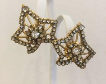 Vintage 1940s Signed Miriam Haskell Gold Tone Rhinestone Leaf Stud Statement Earrings